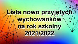 LISTA WYCHOWANKÓW 2021/2022
